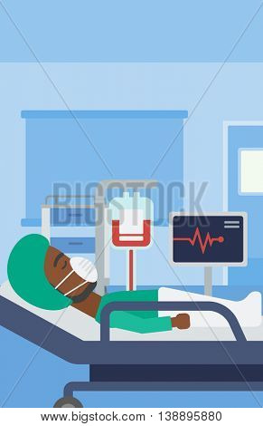 An african-american man in oxygen mask lying in hospital ward with heart rate monitor and equipment for blood transfusion. Vector flat design illustration. Vertical layout.