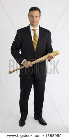 Man In Suit With Baseball Bat