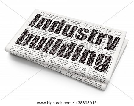 Industry concept: Pixelated black text Industry Building on Newspaper background, 3D rendering