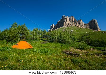 Mountain Big Thach  in Caucasus under blue sky