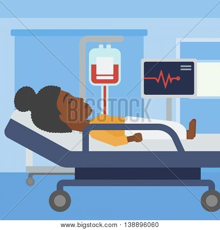 An african-american young woman lying in bed at hospital ward. Patient with heart rate monitor and equipment for blood transfusion in medical room. Vector flat design illustration. Square layout.