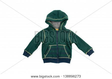 Green hooded sweatshirt isolated on white background