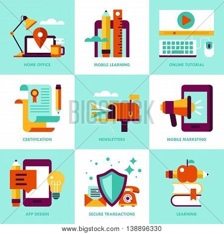 Modern stylish icons for web graphics and logo design. Business icons for home office mobile learning online tutorial newsletters and app design