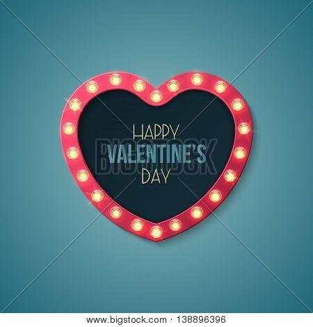 Heart shape retro lights sign for Valentine's day design. Vector illustration