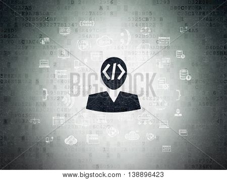 Programming concept: Painted black Programmer icon on Digital Data Paper background with  Hand Drawn Programming Icons