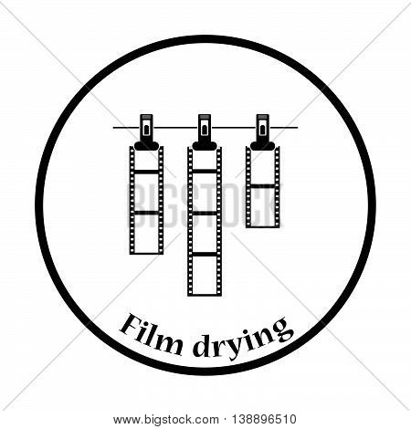 Icon Of Photo Film Drying On Rope With Clothespin