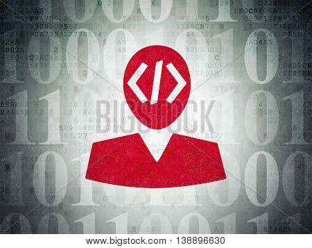 Database concept: Painted red Programmer icon on Digital Data Paper background with  Binary Code