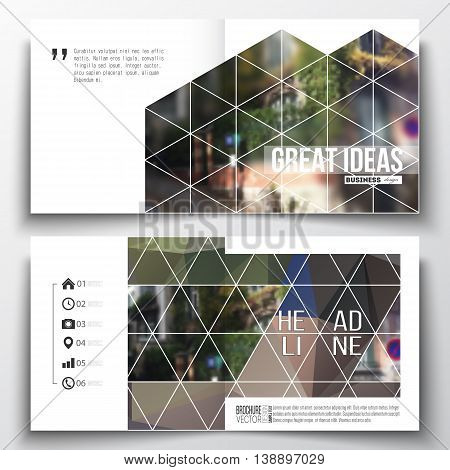 Set of annual report business templates for brochure, magazine, flyer or booklet. Polygonal background, blurred image, urban landscape, street in Montmartre, Paris cityscape, triangular vector texture