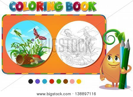 Coloring book insects in the forest glade - vector illustration.