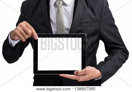 Yong Businessman Holding Digital Tablet Computer Showing Screen
