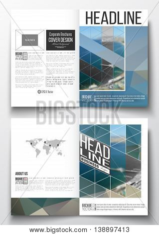 Set of business templates for brochure, magazine, flyer, booklet or annual report. Colorful polygonal backdrop, blurred background, sea landscape, modern triangle vector texture.