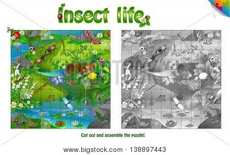Puzzle - a life of insects on forest clearing. Cut out and assemble the puzzle
