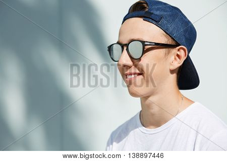 Youth And Happiness. Close Up Profile Of Fashionable 15-year Old Student Boy With Healthy Clean Skin