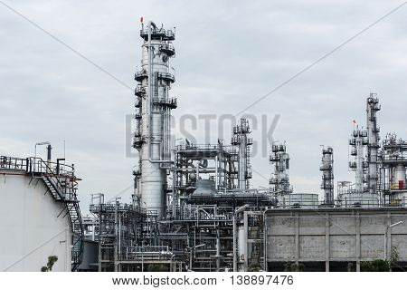 Oil Refinery And Petroleum Industry At Day Time