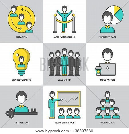 Businesss management and leadership modern thin line icons for web graphics and logo design. Isolated vector illustration