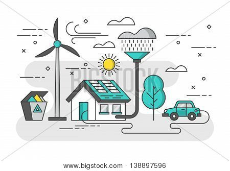 Ecology concept with eco friendy house and green energy. Modern thin line vector illustration