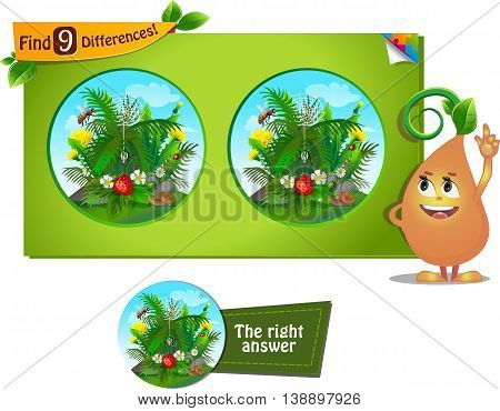 visual game for children and adults. Task to find 9 differences in the summer illustration with forest insects.