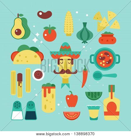 Mexican food flat stylish icon set. Vector illustration
