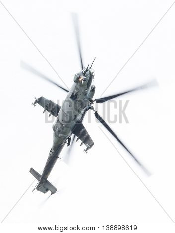 Leeuwarden, The Netherlands - Jun 10, 2016: Czech Republic Air Force Mil Mi-24 Hind Attack Helicopte