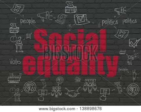 Political concept: Painted red text Social Equality on Black Brick wall background with Scheme Of Hand Drawn Politics Icons
