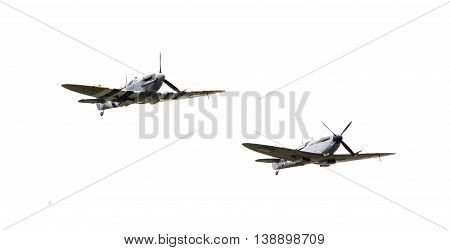 Leeuwarden, The Netherlands - June 10, 2016: Vintage Spitfire Fighter Planes Making A Low Flypast Fo