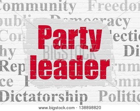 Political concept: Painted red text Party Leader on White Brick wall background with  Tag Cloud
