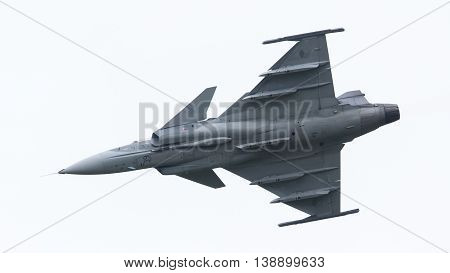 Leeuwarden, The Netherlands-june 10: Modern Tactical Fighter Jet Jas-39 Gripen Performs At The Dutch