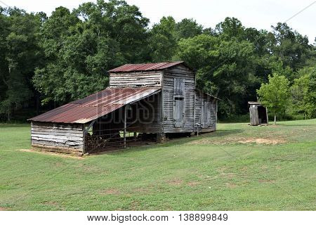 Old rustic barn shed at rural Georgia, USA.