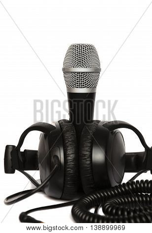 Headphone And Microphone Isolated On White