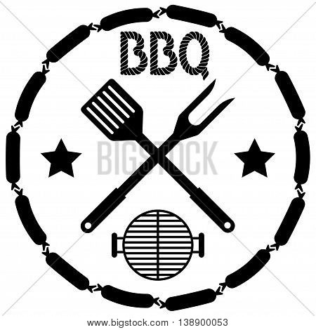 BBQ grill menu isolated on white background vector illustration