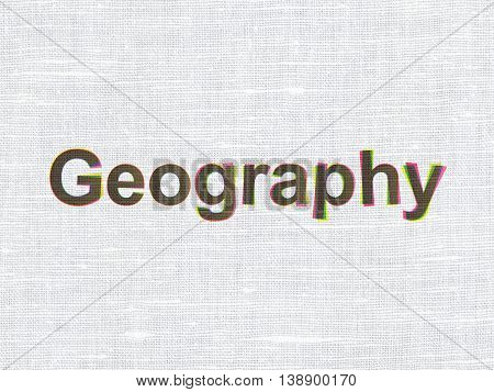 Learning concept: CMYK Geography on linen fabric texture background