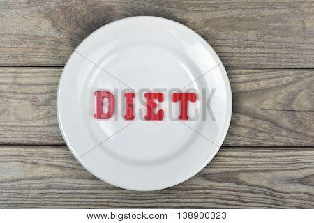 Diet word on white plate