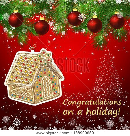 Vector gingerbread house New Year design background. Template card whit red Christmas balls on the green branches. Silhouette of a Christmas tree made of stars. Falling snow.