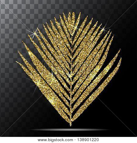 Vector illustration of golden palm leave on transparent background. EPS