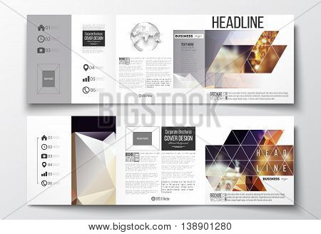 Vector set of tri-fold brochures, square design templates with element of world globe. Colorful polygonal background, blurred image, night city landscape, festive cityscape, triangular vector texture.