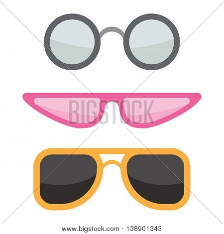 vector colorful sunglasses set Isolated on white background