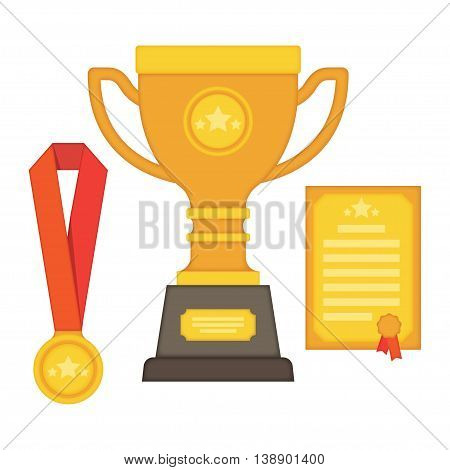 Trophy and awards icon set winning trophy cup medals Colorful vector illustration.
