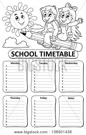 Black and white school timetable theme 7 - eps10 vector illustration.