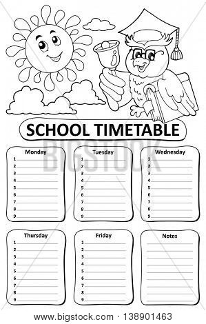 Black and white school timetable theme 8 - eps10 vector illustration.