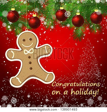 Vector gingerbread man New Year design background. Template card whit red Christmas balls on the green branches. Silhouette of a Christmas tree made of stars. Falling snow.