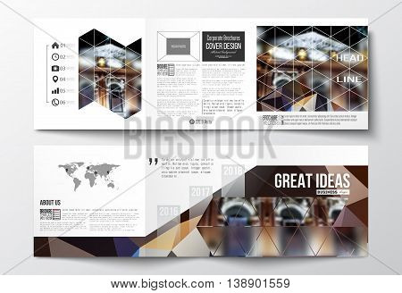 Vector set of tri-fold brochures, square design templates with element of world map. Colorful polygonal background, blurred image, night city landscape, modern triangular vector texture.