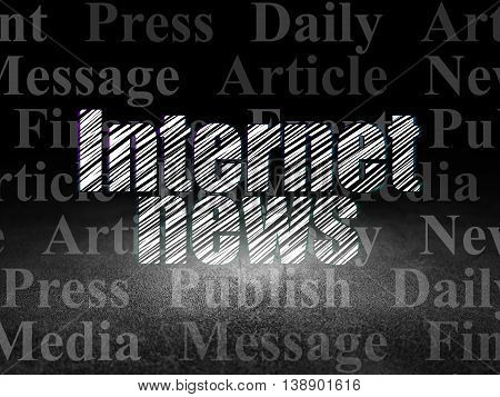News concept: Glowing text Internet News in grunge dark room with Dirty Floor, black background with  Tag Cloud