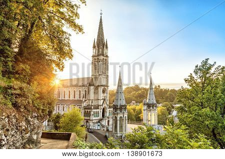 Rosary Basilica on sunset in Lourdes Hautes-Pyrenees France
