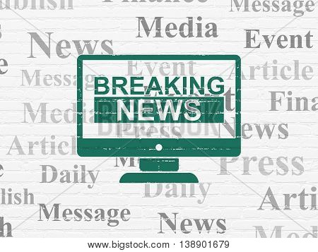 News concept: Painted green Breaking News On Screen icon on White Brick wall background with  Tag Cloud