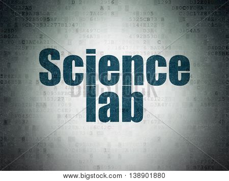 Science concept: Painted blue word Science Lab on Digital Data Paper background