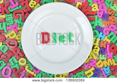 Diet word on white plate and magnetic letters