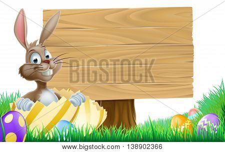 Cartoon Easter Egg Bunny Sign