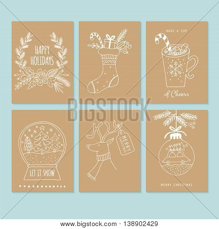 Christmas hand drawing greeting card set on brown paper. Isolated vector illustration