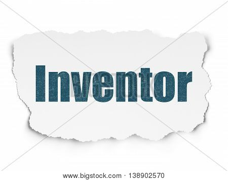 Science concept: Painted blue text Inventor on Torn Paper background with  Tag Cloud