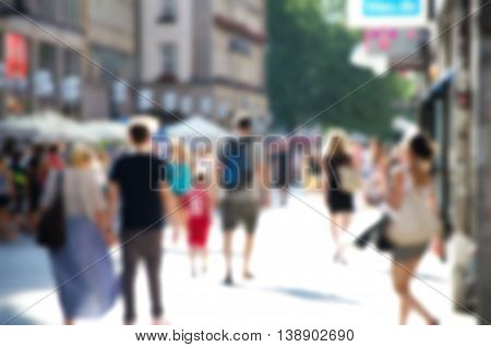 Abstract Blurred People Activity In Marienplatz Munich City, Germany